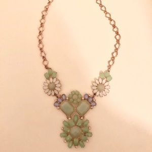 Jewelry - Teal, Blue & White Floral Statement Necklace